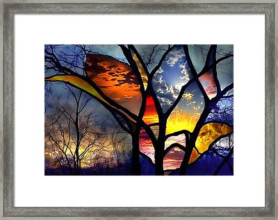 Stained Glass Flower Framed Print