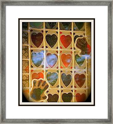 Stained Glass Hands And Hearts Framed Print by Kathy Barney