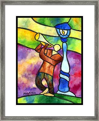 Stained Glass Jazzman Framed Print by Hailey E Herrera