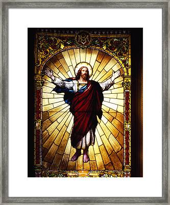 Stained Glass Jesus Framed Print
