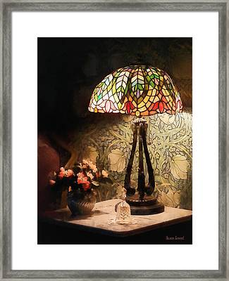 Stained Glass Lamp And Vase Of Flowers Framed Print by Susan Savad
