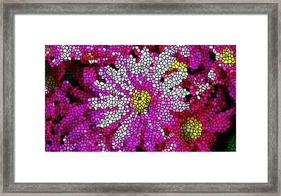 Stained Glass Pink Chrysanthemum Flower Framed Print by Lanjee Chee