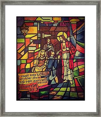 Stained Glass Proverbs 16 Verse 3 Framed Print by Zech Browning