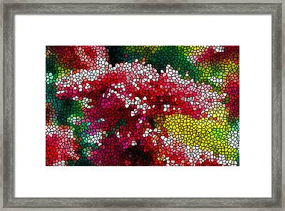 Stained Glass Red Chrysanthemum Flowers Framed Print by Lanjee Chee