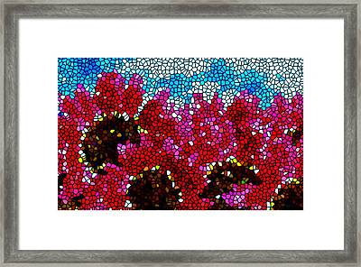 Stained Glass Red Sunflowers Framed Print by Lanjee Chee