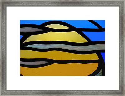 Stained Glass Scenery 3 Framed Print by Wendy Wilton