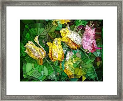 Stained Glass Series - Tulips Framed Print by Ron Grafe
