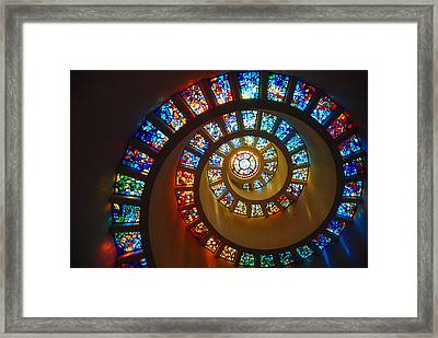 Stained Glass Spiral Framed Print