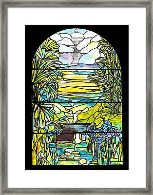 Stained Glass Tiffany Holy City Memorial Window Framed Print