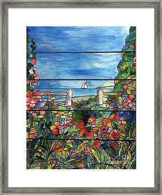 Stained Glass Tiffany Landscape Window With Sailboat Framed Print
