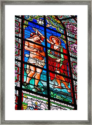 Stained Glass Window At Cathedral Framed Print
