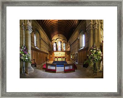 Stained Glass Window At The Alter Framed Print by John Short