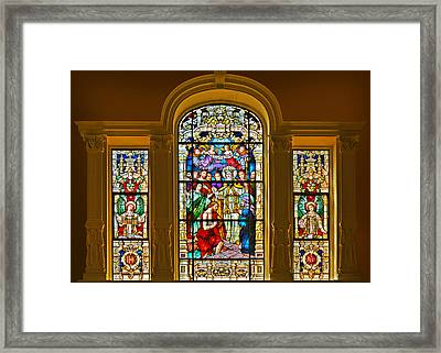 Stained Glass Window Cathedral St Augustine Framed Print by Christine Till