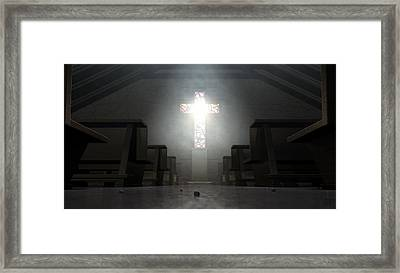 Stained Glass Window Crucifix Church Framed Print