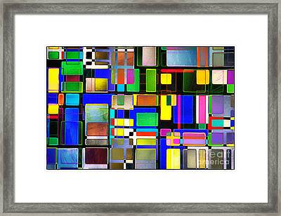 Stained Glass Window II Multi-coloured Abstract Framed Print by Natalie Kinnear