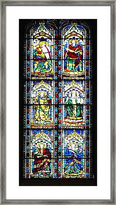 Stained Glass Window Of Santa Maria Del Fiore Church Florence Italy Framed Print by Irina Sztukowski