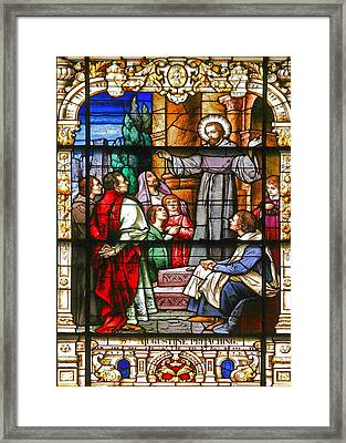 Stained Glass Window Saint Augustine Preaching Framed Print