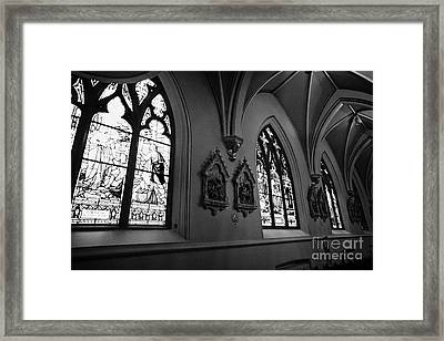 stained glass windows and stations of the cross interior of holy rosary cathedral Vancouver BC Canad Framed Print by Joe Fox