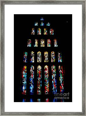 Stained Glass Windows At Basilica Of The Annunciation Framed Print by Eva Kaufman