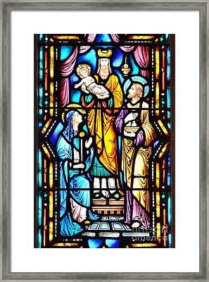 Stained Glass Windows At St. Edmond Church 2 - Rehoboth Beach Delaware Framed Print by Kim Bemis