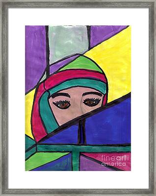 Stained Glass Woman Framed Print by Debbie Wassmann