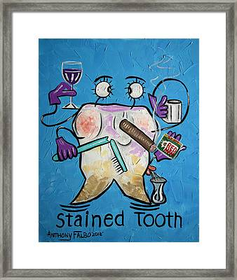Stained Tooth Framed Print by Anthony Falbo