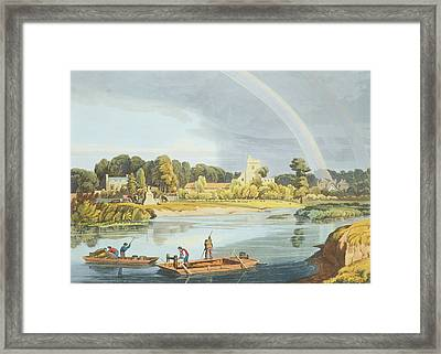 Staines Church With City Stone On Banks Framed Print by William Havell