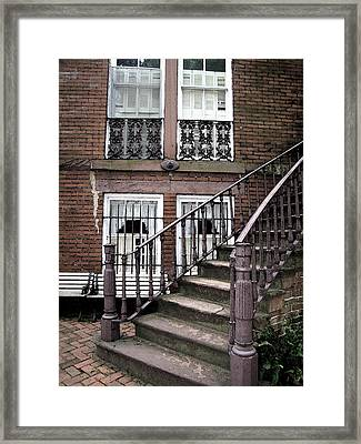 Staircase And Shutters Framed Print by Linda Ryan