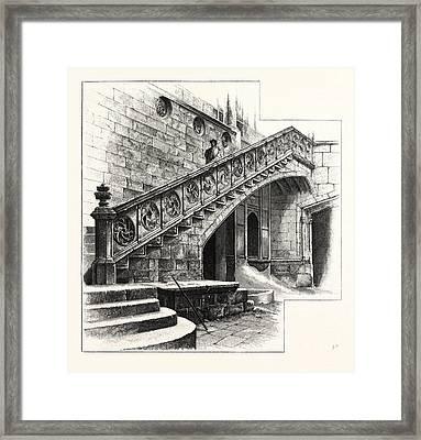 Staircase At The Entrance To The Casa De La Disputacion Framed Print