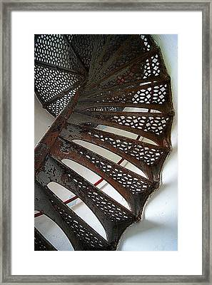 Staircase Of The Chambers Island Lighthouse Framed Print by Carol Toepke