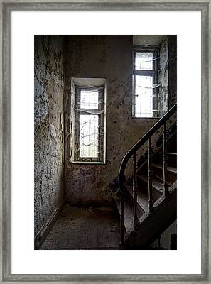 Staircase Spider Web Haunted Spooky Castle Framed Print by Dirk Ercken