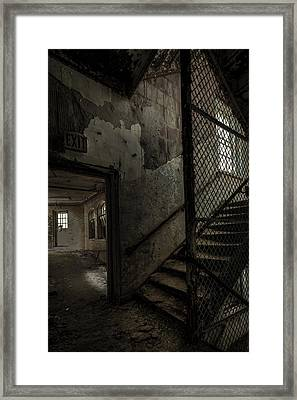 Stairs And Corridor Inside An Abandoned Asylum Framed Print by Gary Heller