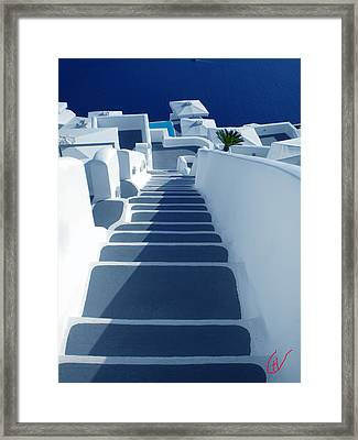 Stairs Down To Ocean Santorini Framed Print