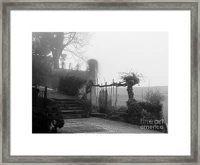 Stairs In The Fog Framed Print