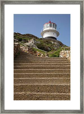 Stairs Leading To Lighthouse Atop Hill Framed Print