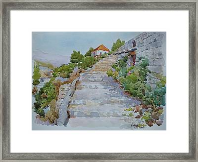 Stairs To House Framed Print by Ghazi Toutounji
