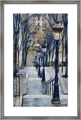 Stairs With Lamps Framed Print