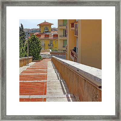 Stairway In Monaco French Riviera Framed Print