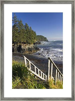 Stairway Leading Down To Beach  Mill Framed Print