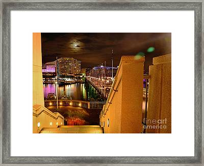 Stairway To Darling Harbour During Vivid Sydney 2014 Framed Print by Kaye Menner