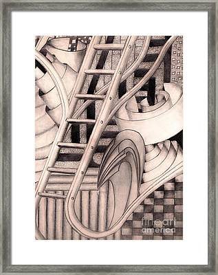 Framed Print featuring the drawing Stairway To.... by John Stuart Webbstock