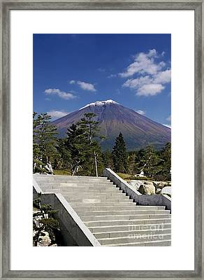 Framed Print featuring the photograph Stairway To Mt Fuji by Ellen Cotton