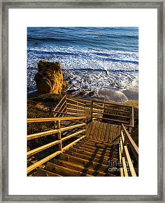 Framed Print featuring the photograph Steps To Blue Ocean And Rocky Beach by Jerry Cowart