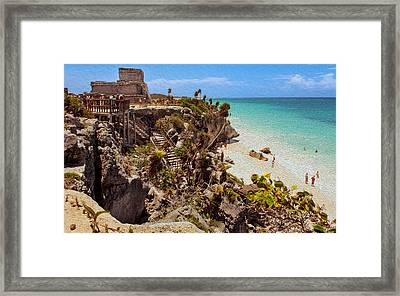 Stairway To The Tulum Beach  Framed Print by John M Bailey