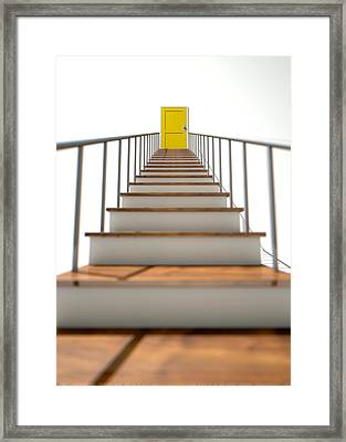 Stairway To Yellow Door Framed Print by Allan Swart