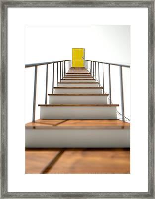 Stairway To Yellow Door Framed Print