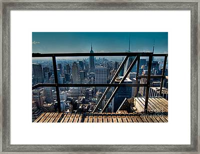 Stairways On Top Of Rockefeller Center Framed Print by Amy Cicconi