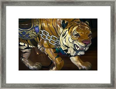 Stalking Tiger Of Looff Carousel  1909 Framed Print by Daniel Hagerman