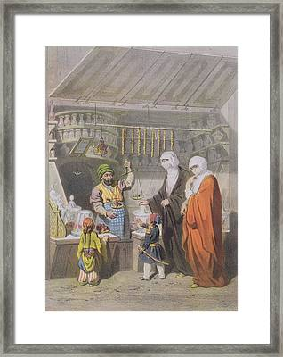 Stallholder Selling Spiced Delicacies Framed Print by Adolphe Jean-Baptiste Bayot
