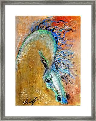 Stallion In Gold Framed Print